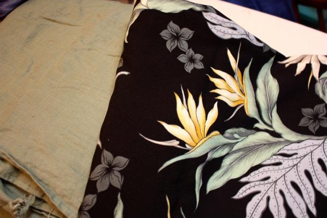 A reversible rayon/linen skirt.